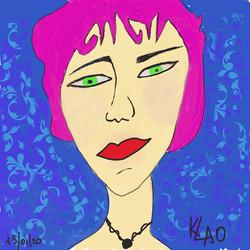 Femme aux cheveux roses
