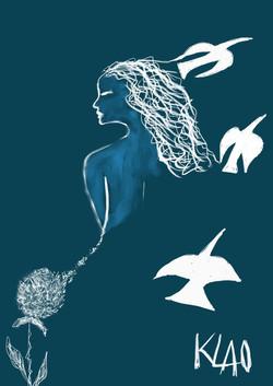 La femme- fleur et  les oiseaux