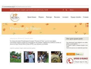 GFMO é lembrando pelo Instituto RUMO de Piracicaba pelo Projeto Florestas do Futuro