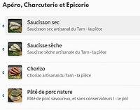 Carte diversifiée de produits de la Fromagerie Saisons
