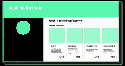 Aspect du menu d'un module de commande en ligne
