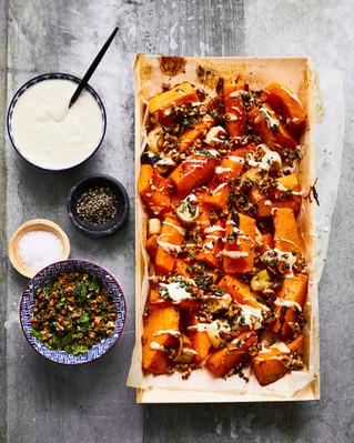 Roasted Butternut Squash with Orange Tahini, Walnuts, and Za'atar