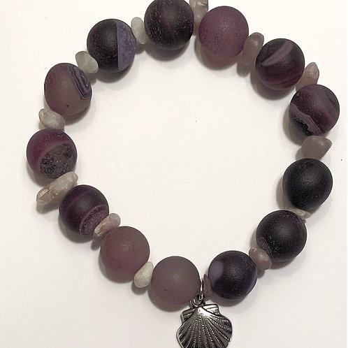 Nickel Free Seashell & Purple Agate Bracelet