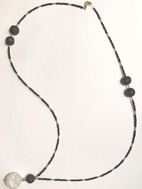 Aroma Therapy Lava Stone and Moon Quartz Necklace