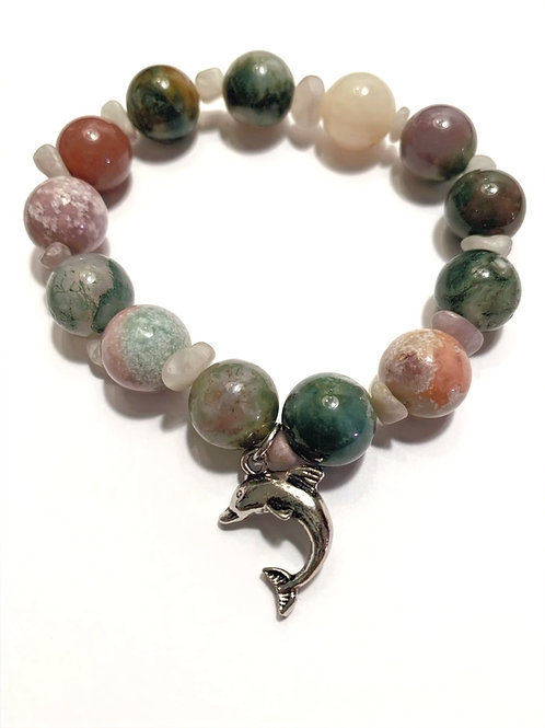Nickel Free Dolphin with Multicolored Agate and Fluorite