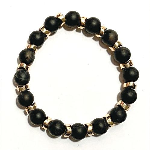 Striped Black Agate & Hematite Bracelet
