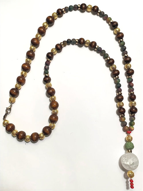 Ceremonial Protection Necklace with Kyanite & Hematite