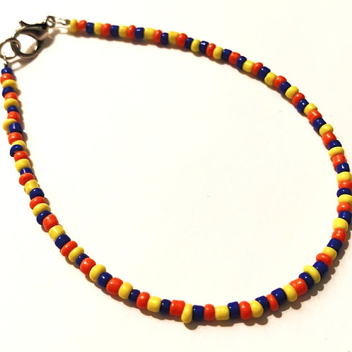 Blue, Yellow & Orange Beaded Bracelet