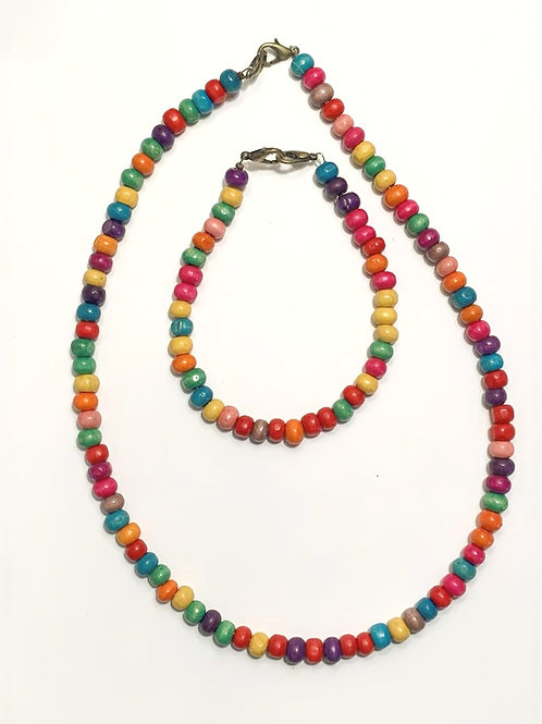 Rainbow Wood Bead Necklace & Bracelet Set