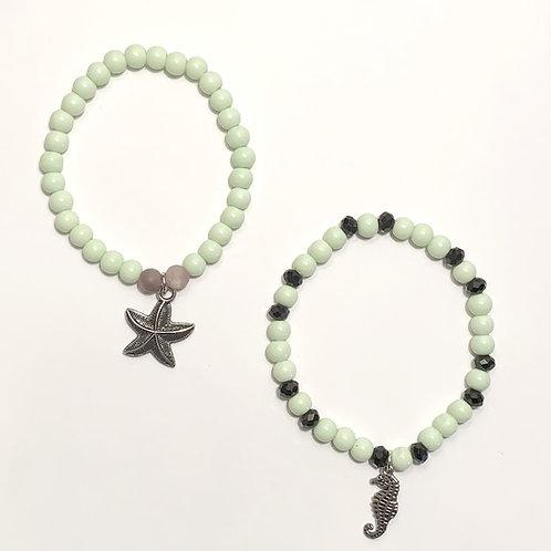 Ocean Charm Mint beads & Lilac Stones Bracelets