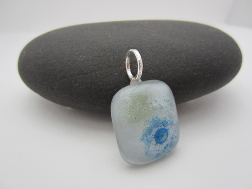 pale blue bubble glass pendant