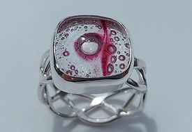 r94 pink bubble glass set in sterling si