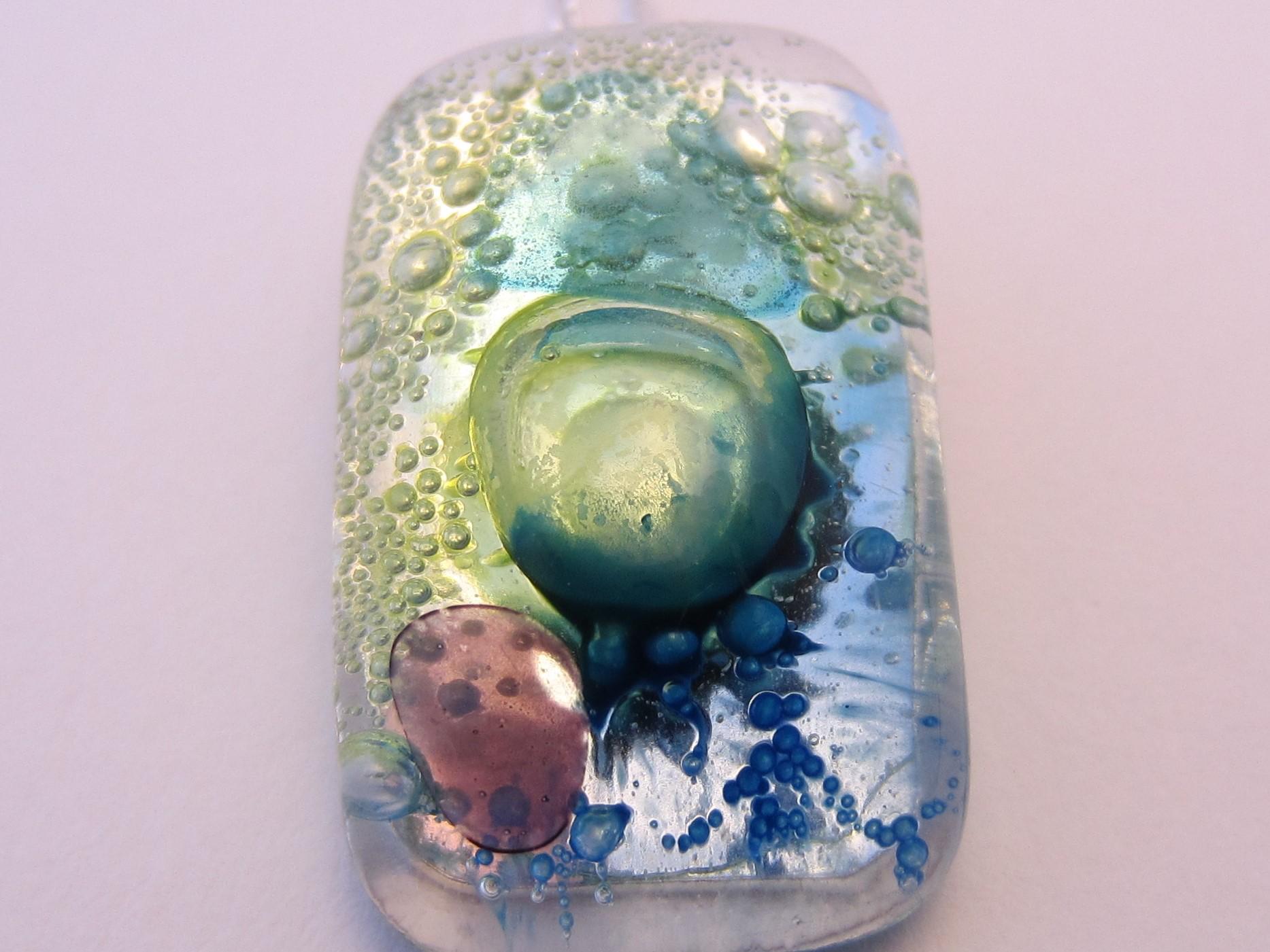 multi coloured bubble glass pendant