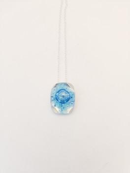 small blue square bubble glass pendant