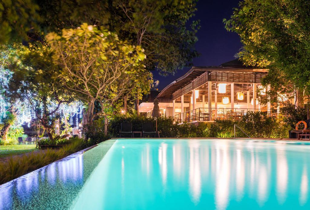 Champasak The River Resort Pool at Night