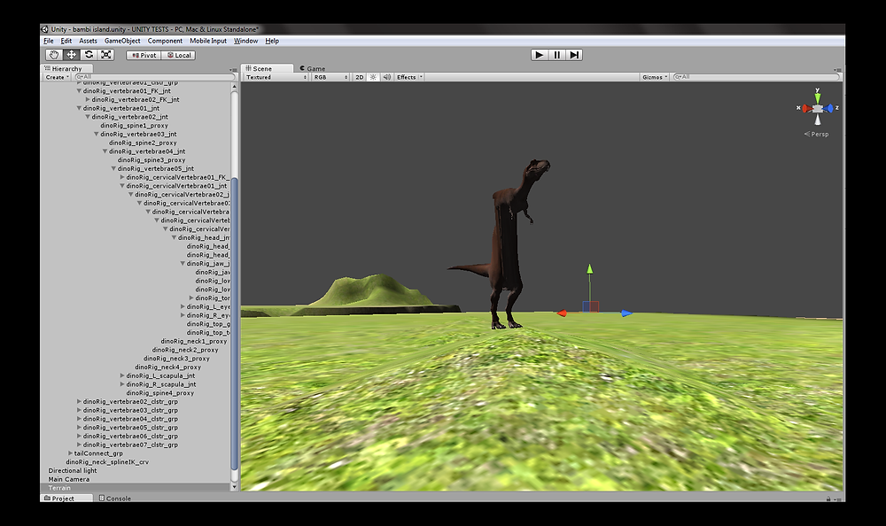 A stretched trex 3d rig in Unity