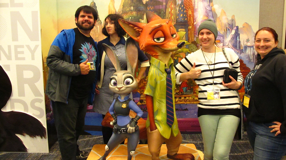 Spencer Bingham, Kati Prescott, Abby Lee, and Kiliegh Gallagher pose by Judy and Nick from Disney's Zootopia