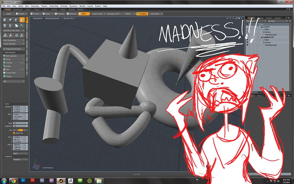 Cartoon describes the madness of 3d software modo