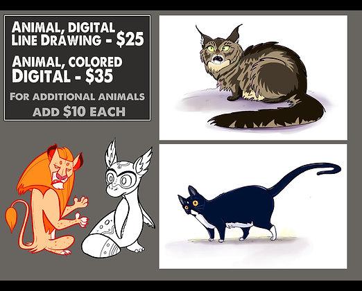 Digital Line Drawing - Animal