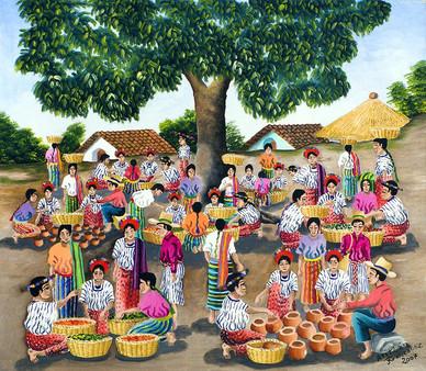 Market Beneath a Tree, Santiago Atitlán