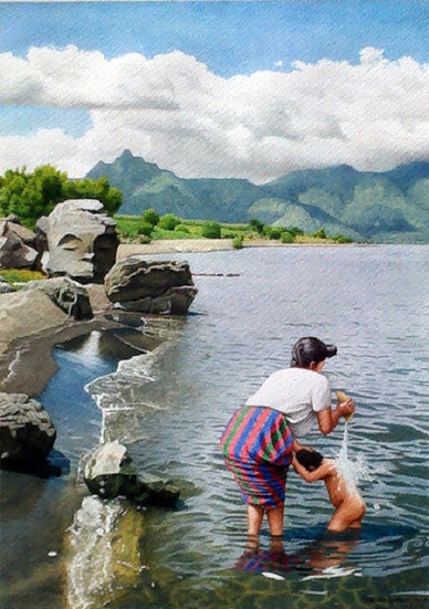 Woman Bathing a Child in the Lake