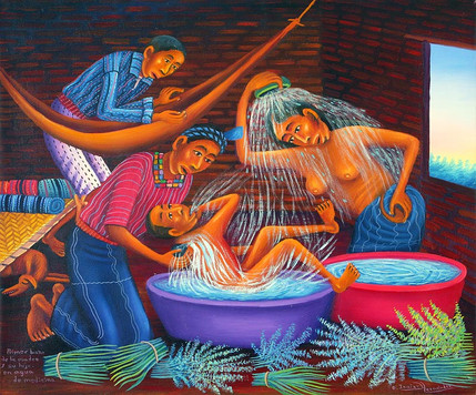 Primer Baño de la Madre y su Hijo en Agua de Medicina
