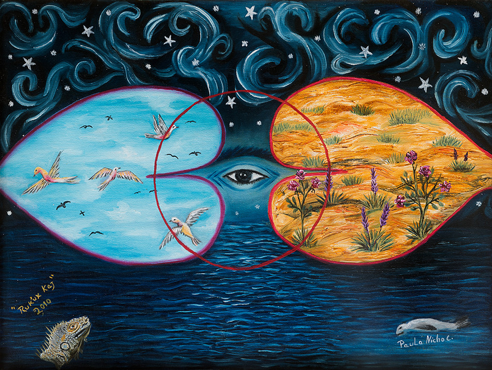 Paula Nicho Cúmez Kaqchikel Maya, San Juan Comalapa, b. 1956 Helen Moran Collection  Oil on canvas  Artist's Statement:  There are three energies:  Ruk'ux ya'el, Heart of the Water;  Ruk'ux ulew, the Heart of the Earth, and Ruk'ux kaj, the Heart of the Sky.  These are the energies that protect us and provide us with security and alimentation, the way a mother does.  Hay tres energías, Ruk'ux ya'el (el Corazón del agua), Ruk'ux ulew (el Corazón de la tierra), y Ruk'ux kaj (el Corazón del Cielo).  Ellos son quienes nos protegen y nos provéen de seguridad y alimentación como lo hace una madre.