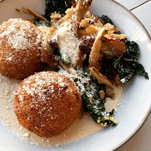 Plat du jour: Arancini et kale et champignons