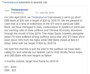 Singapore Q3 GDP Growth Below Expectations - Reaffirms our negative view on DBS Bank with a $18 targ