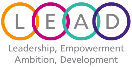 Image is logo with the letters L E A D each in a circle shapes that link together with the words Leadership, Empowerment, Ambition, Development below.