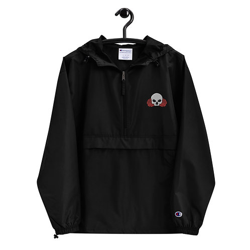 Skull Between Two Roses - Embroidered Champion Packable Jacket