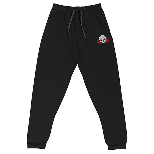 Skull Between Two Roses - Embroidered Joggers