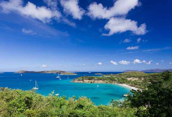Panorama of Caneel Bay on the Caribbean