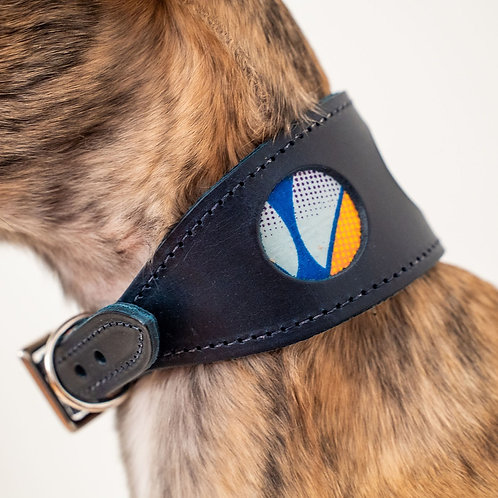 Leather Collar / Dark Blue