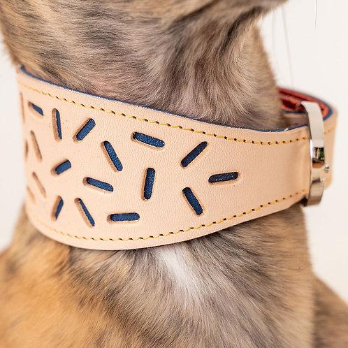 Leather Collar / Beige & Blue