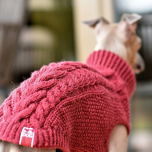 Hand Knitted Pullover / Red