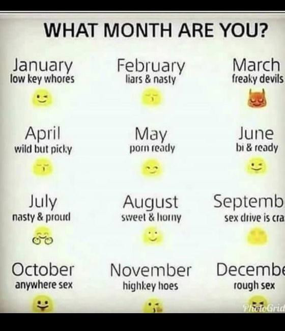 Months that represent your personality