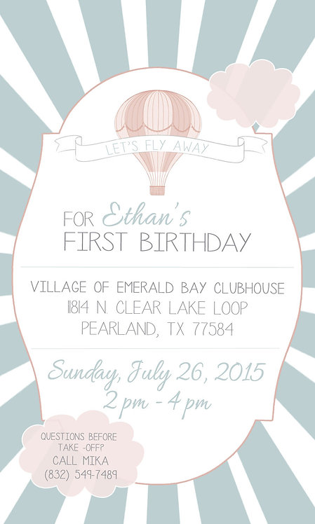 Fly Away Birthday Invitation