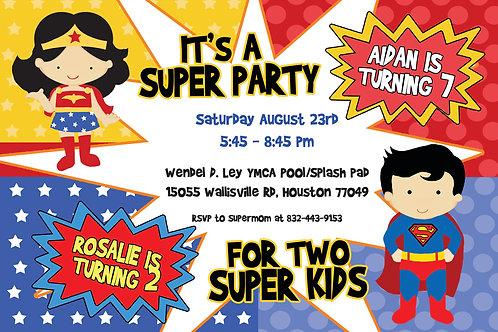 Super Party Birthday Invitation