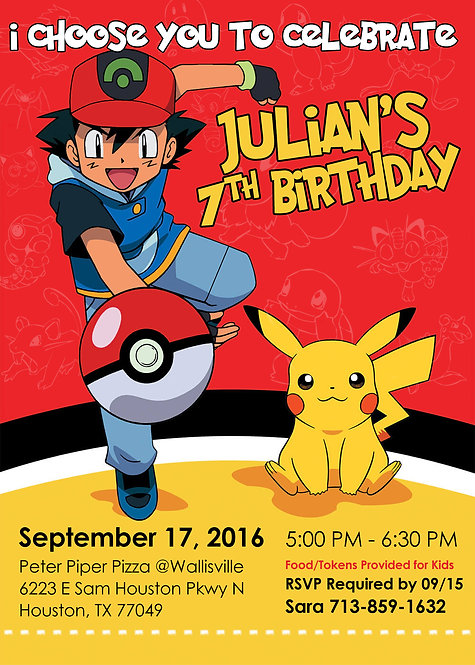 Catch 'Em Birthday Invitation
