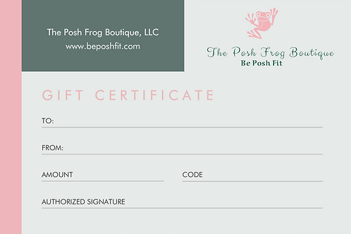 $50 The Posh Frog Boutique Gift Certificate