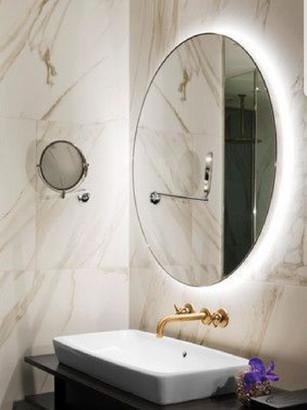Round polish mirror with back light