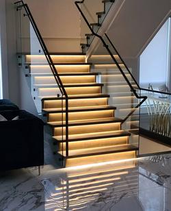 Glass Railing Black Handrail