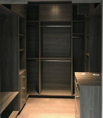 Custom closet with backing