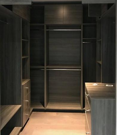 Custom closet with backing