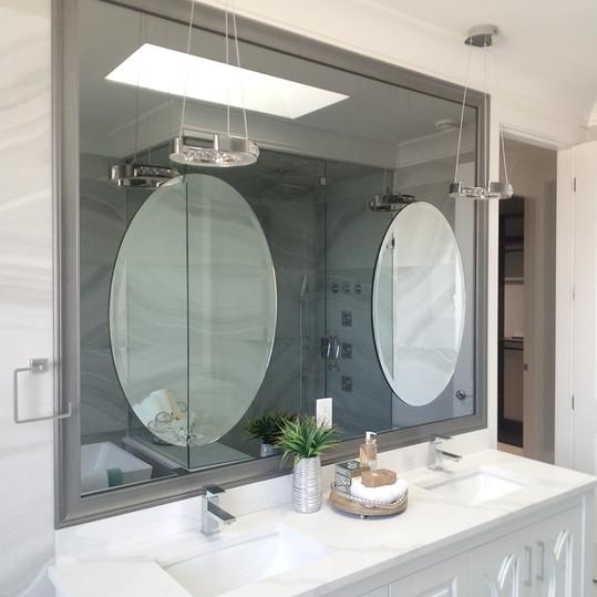 Grey Frame Grey Mirror With Ovel