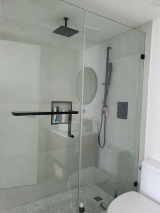 black Hardware shower door