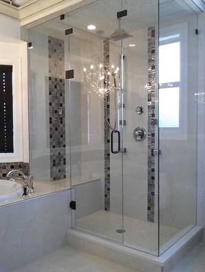 black hardware frameless shower