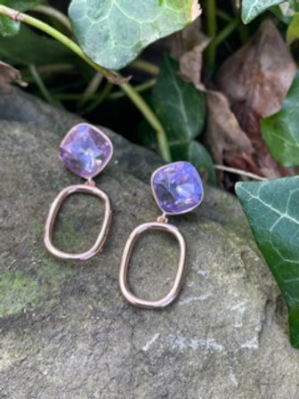 Fashion earrings,with lavender swarovski crystal.