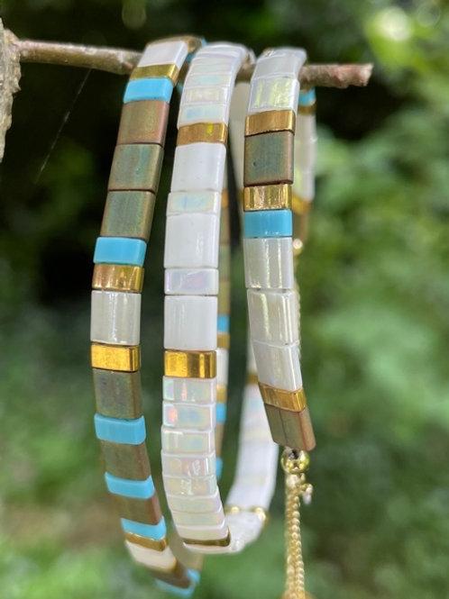 Ceramic bead bracelets,set of 3